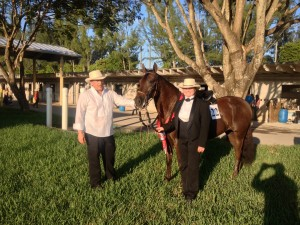 Bea and trainer Javier Suarze with Barcarola  Fino Mare World Champion Reserve
